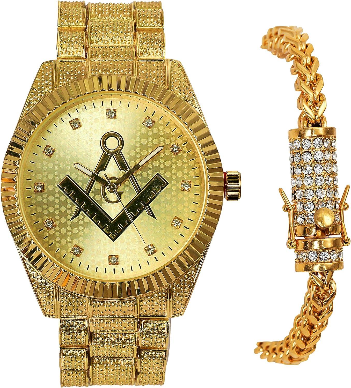 Men's Hip Hop Luxury Iced Out PT Popular brand Freemason Band Metal Over item handling Mason Gold