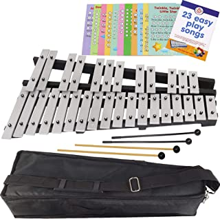 Foldable Xylophone Chromatic - 30 Note Glockenspiel - Bag - 4 Mallets - Music Notes Included