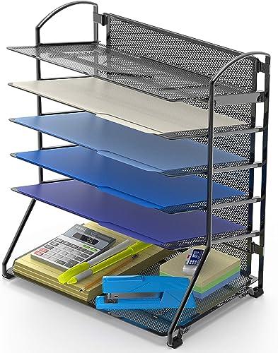new arrival SimpleHouseware discount wholesale 6 Trays Desktop Document Letter Tray Organizer, Black sale