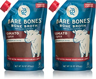 Bare Bones Tomato & Spice Beef Bone Broth for Cooking and Sipping, 100% Grass-Fed, Organic, Protein and Collagen Rich, Keto Friendly, 16 oz, Pack of 2