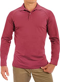 CC Perfect Slim Fit Long Sleeve Polo Shirts for Men + Stretch | Soft Fitted Breathable Collared Mens Long Sleeve Polo Shirts