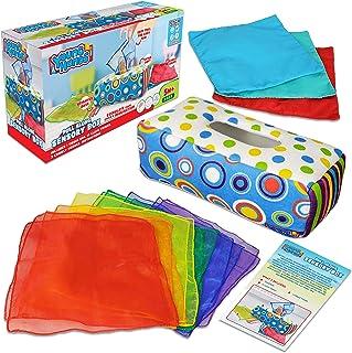 Sensory Pull Along Toddler Infant Baby Tissue Box - Colorful Juggling Rainbow Dance Scarves for Kids STEM Montessori Educa...