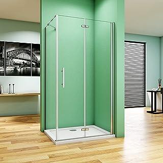 120x90x185cm Cabina de Ducha Puerta Plegable Cristal Templado de 6mm ANTICAL Perfil Aluminio, Mamparas de Ducha