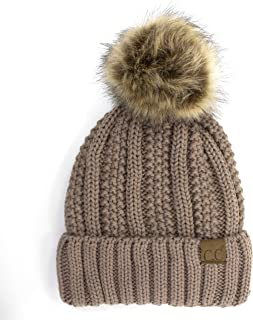 BYSUMMER C.C Cable Knit Beanie with Faux Fur Pom - Warm, Soft, Thick Beanie Hats for Women & Men (Taupe)