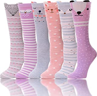 6 Pairs Girls Knee High Socks Soft Warm Cotton Lovely Socks Cute Animal Pattern