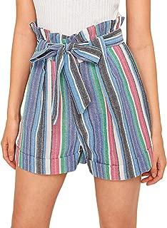 Women's Casual Elastic Waist Striped Summer Beach Shorts with Pockets