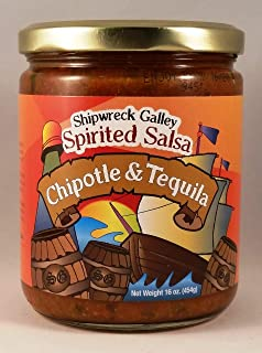 Shipwreck Galley Spirited Salsa - Chipotle and Tequila - 16 oz - Premium Low Fat - Low Calorie - Nachos Tacos Tortilla Dip - Burrito Enchilada Quesadilla Spread