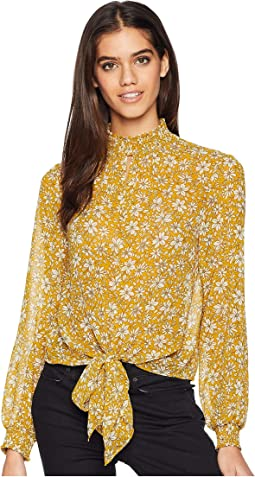 Long Sleeve Wild Blooms Smocked Neck Blouse