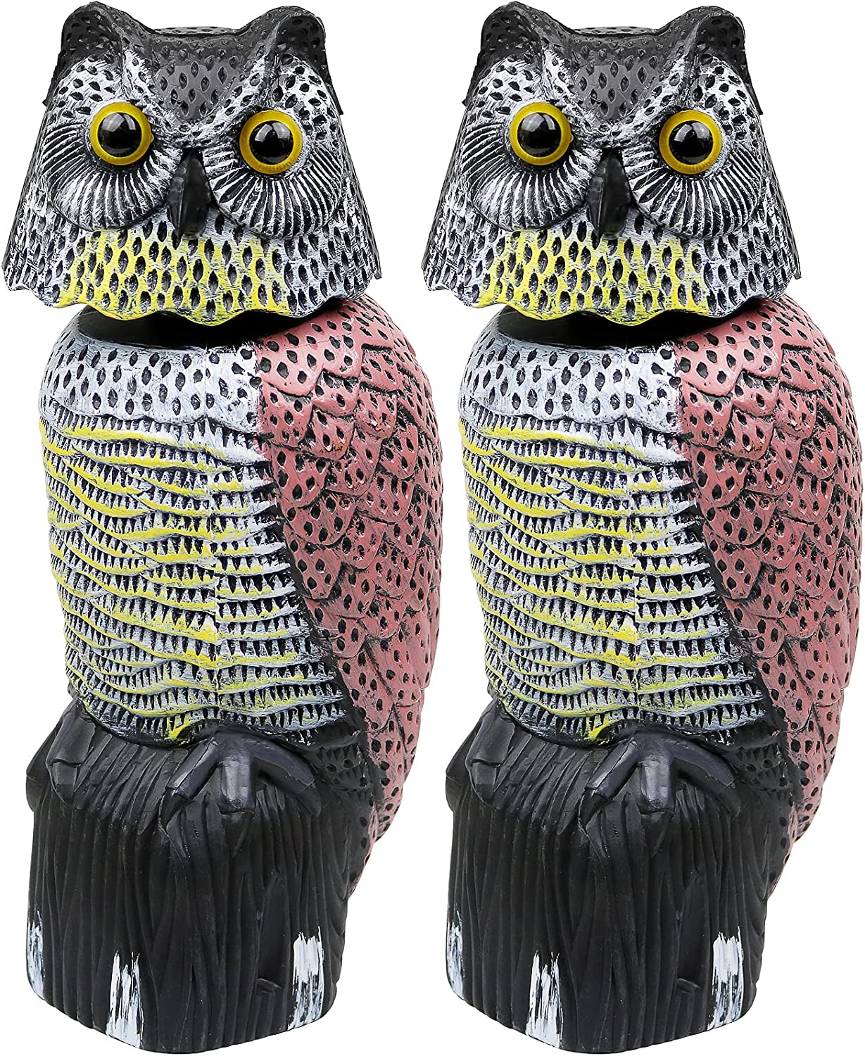 Galashield Owl Decoy to Scare Birds Away Scarecrow Fake Owl with Rotating Head (2 Pack)