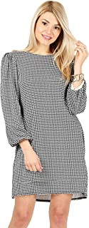Womens Casual Long Puff Sleeve Printed Shift Dress - Made in USA