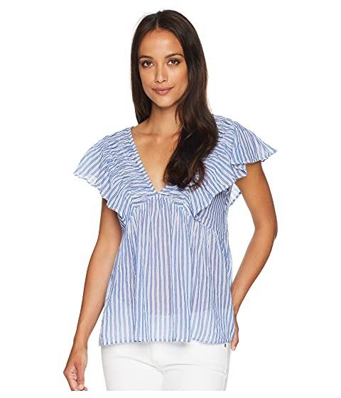 Lucky Brand Stripe Phoebe Top Blue Multi Wholesale Price Sale Online Deals Sale Online Cheap Sale Perfect With Paypal Sale Online Discount Affordable BPtvr