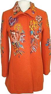 IVKO Short Merino Wool Coat with Embroidered Flower Designs, Orange