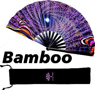Fansay Fans - Large Bamboo Folding Fan for Women/Men - Big Hand Fan W/Velvet Bag - for Rave Fan, Festival Clothing Gear, Dance Party Accessories, LGBT Pride, Decoration, Gift - Clack Fan