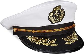 Relaxdays Kapitänsmütze, Damen & Herren, Einheitsgröße, Kopfbedeckung Fasching & Karneval, Offiziersmütze, weiß/schwarz