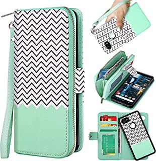 ELV Designed Google Pixel 2 XL Case [PU Leather] Slim Folio Wallet Purse Protective Magnetic Closer [Pull tab] Cover for Google Pixel 2 XL - FTS Mint