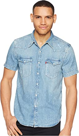 Premium Barstow Western Short Sleeve Denim Shirt