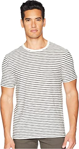 Slub Reverse Stripe Crew Neck T-Shirt