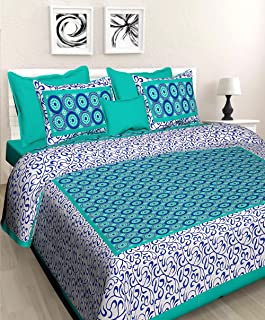 BedZone 100% Cotton Rajasthani Jaipuri King Size Bedsheets 1 Double Bedsheets with 2 Pillow Covers .,