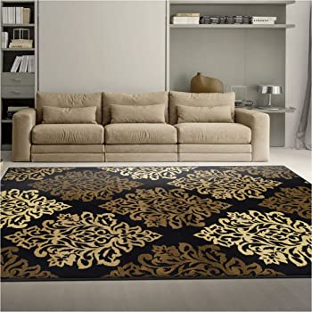 Amazon Com Superior Danvers Collection Area Rug Modern Elegant Damask Pattern 10mm Pile With Jute Backing Affordable Contemporary Rugs Black 4 X 6 Rug Furniture Decor
