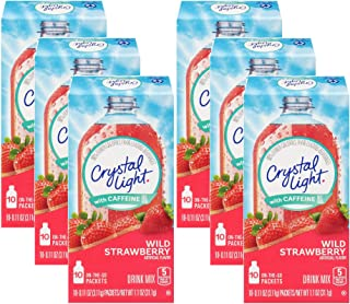 Crystal Light On The Go Wild Strawberry with Caffeine, 10-Count Boxes (Pack of 6)