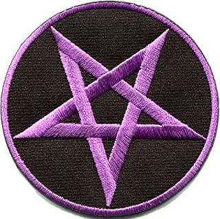 Pentagram Pentacle Satanic Occult Goth Wicca Witch Purple on Black DIY Embroidered Applique Iron-on Patch S-1176