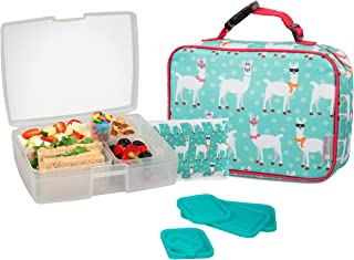 Bentology Lunch Bag and Box Set for Girls - Includes Insulated Sleeve with Handle, Bento Box, 5 Containers and Ice Pack - Llama
