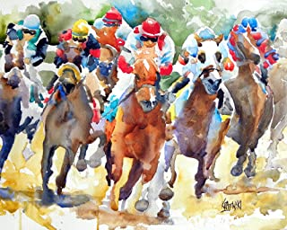 """Horse Racing Art Print   Race Horse Gifts   From Original Painting by Ron Krajewski   Hand Signed Artwork in 8x10"""" and 11x14"""" Sizes"""