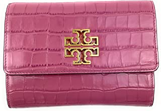 Tory Burch Wristlet Britten Large Zip Pouch Leather TB Logo Rolled Gold