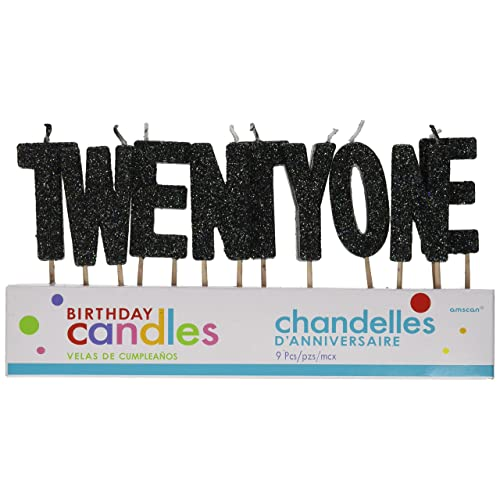 T W E N Y O Black Glitter Birthday Candles
