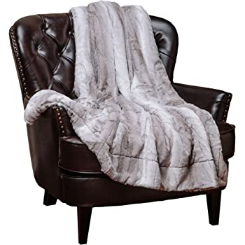 Chanasya Fuzzy Faux Fur Elegant Throw Blanket - Falling Leaf Pattern with Plush Sherpa Grey Microfiber Blanket for Bed Couch and Living Room (50x65 Inches) Grey and White