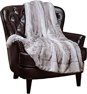 Chanasya Fuzzy Faux Fur Elegant Throw Blanket - Falling Leaf Pattern with Plush Sherpa Microfiber Blanket for Bed Couch and Living Room (60x70 Inches) Grey and White