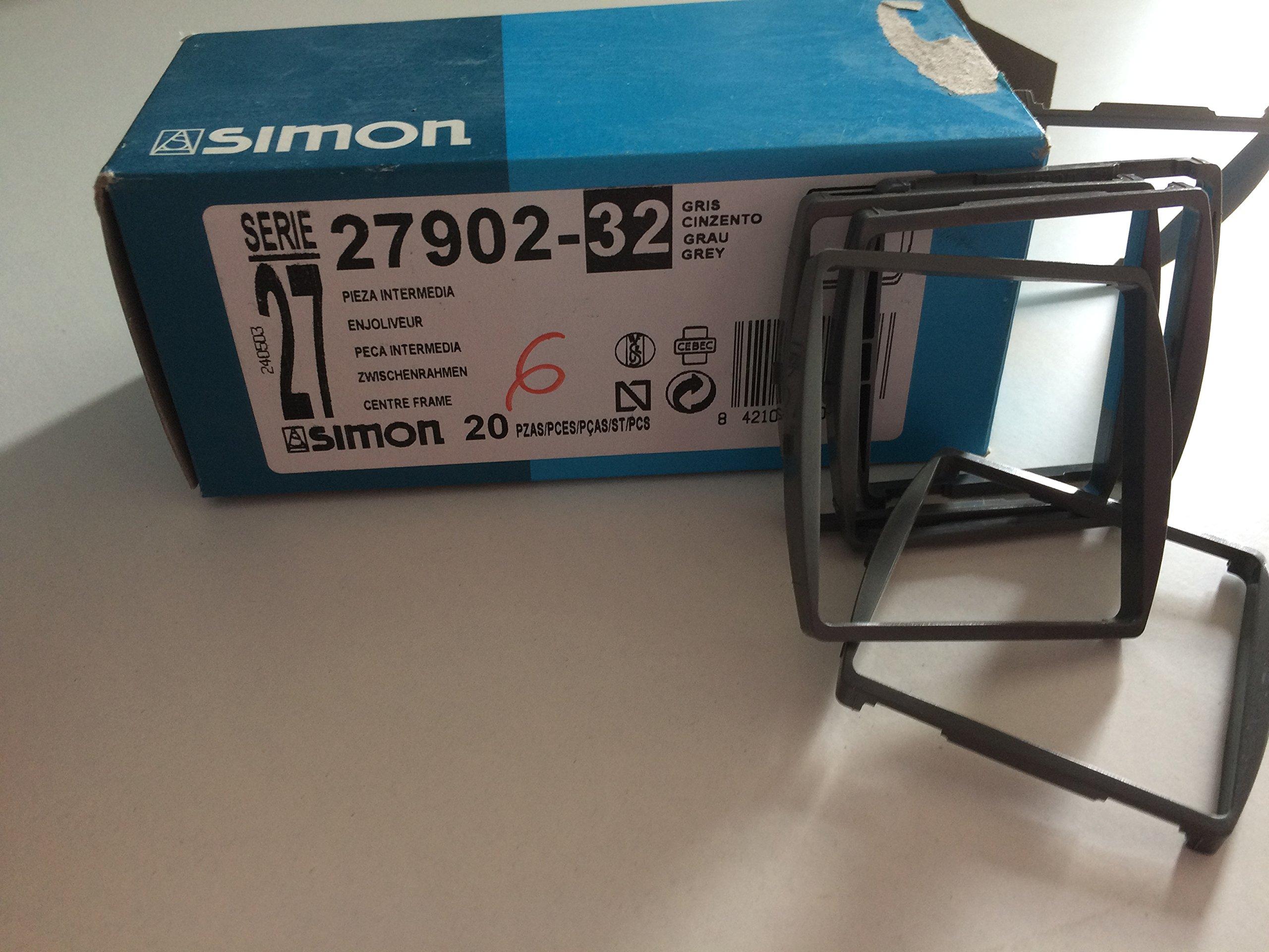 Simon 27902-32 Pieza Intermedia Modulo Ancho Gris