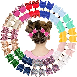 """30pcs Bling Sparkly Glitter Sequins 3"""" Leather Hair Bows Pigtail Hair Clips for Baby Girls Kids Children in Pairs"""