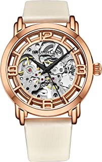 Stuhrling Original Watches for Women Automatic Watch - Skeleton Watch Self Winding Womens Dress Watch Leather Watch Strap Mechanical Wrist Watch for Woman Ladies Watch Collection