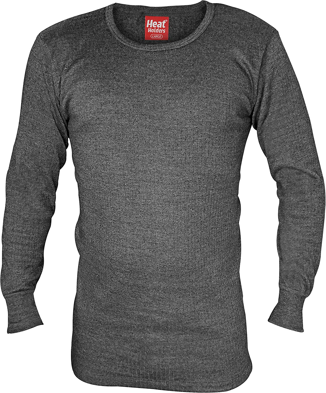 HEAT HOLDERS Mens Cotton Thermal Vest Long Sleeved Charcoal Medium 38-40