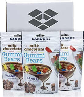 Sanders Chocolate Covered Gummy Bears Candy - Milk Chocolate Covered Gummi Bears With Sweet Fruity Center - Bulk Multi Pack in a Ballard Box - 3.75 Ounce Pouches - 3 Pack