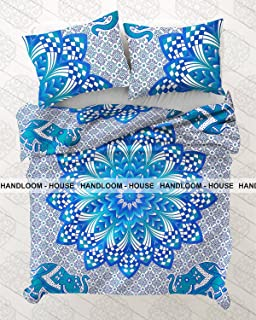 Ombre Mandala Boho Duvet Cover Queen Indian Quilt Cover Cotton Throw Doona Cover by Handloom House