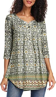 Acloth Women Paisley Henley Tunic Top Pleated Long 3/4 Sleeve Flared Blouse V Neck