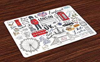 Ambesonne Doodle Place Mats Set of 4, I Love London Double Decker Bus Telephone Booth Cab Crown of United Kingdom Big Ben, Washable Fabric Placemats for Dining Table, Standard Size, White Red