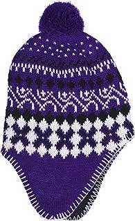 SWAK Girl's Micro-Fleece Lined Knit Hat Ear Flaps Pom Top in 3 Colors