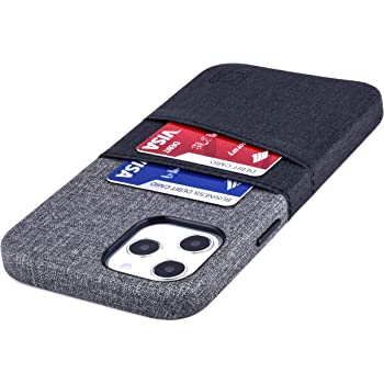 "Dockem Wallet Case for iPhone 12 Pro Max: Built-in Metal Plate for Magnetic Mounting & 2 Credit Card Holders: 6.7"" Luxe M2, Canvas Style Synthetic Leather (Black and Grey)"