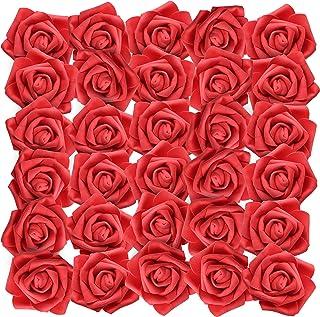 BELLE VOUS Rosas Artificiales (50Pcs) - Flores Artificial de Aspecto Real - Falsas de Rojo Rosas con Tallo 19cm para Bricolaje Ramos Boda, el Jardín Hogar Decor, Florales Arreglos, Centros de Mesa