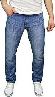 Enzo Mens Designer Regular Fit Straight Leg Jeans Sizes 28
