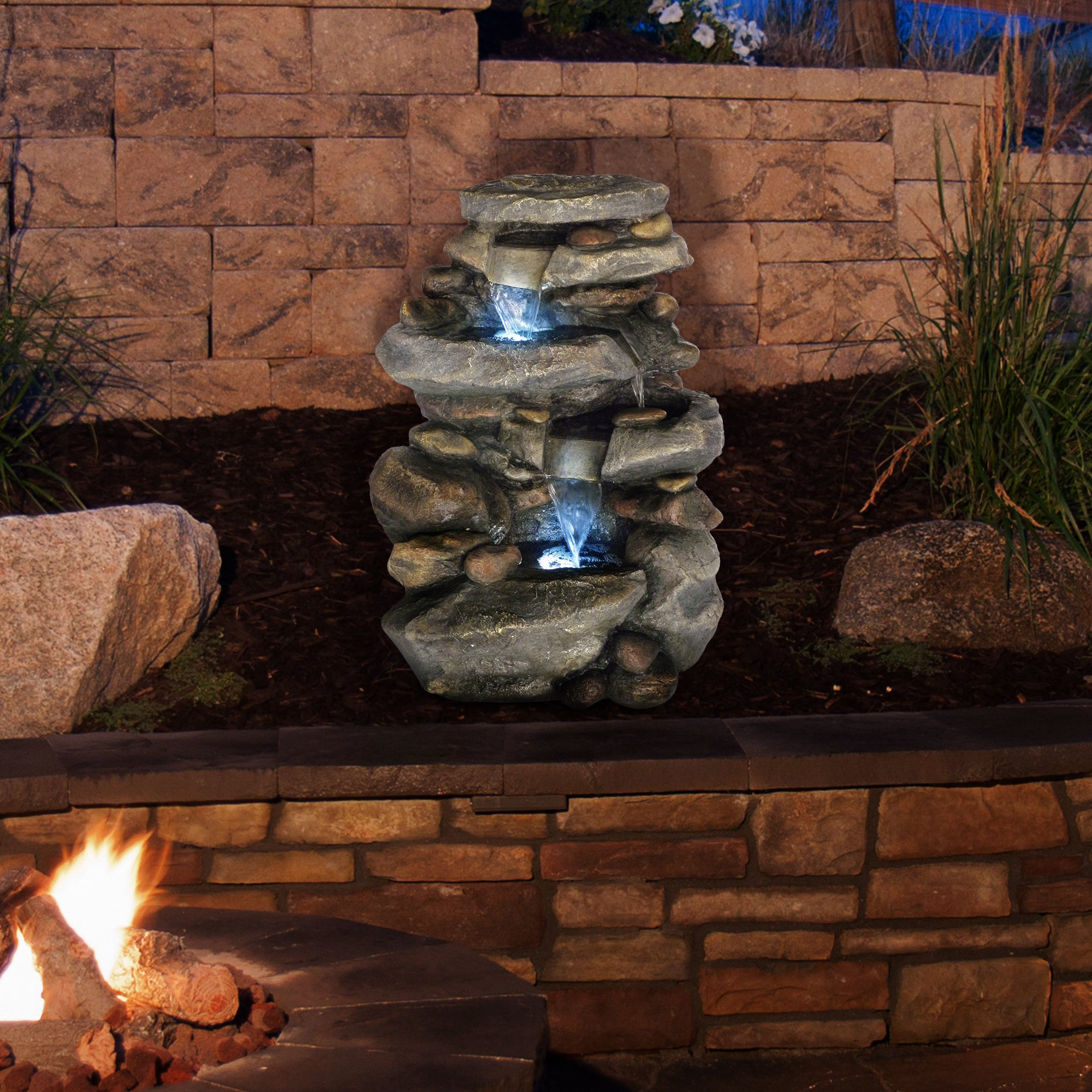 Fountain Waterfall Soothing Garden Pure