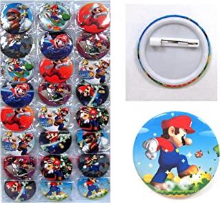 Mario Button Set ~ Birthday Party Favors ~ Set of 24 Random Mario Party Backpack 2