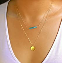 Customized Layered Necklace Set of 2, Gemstone Bar and Large Disc Initial Necklace, 14K Rose Gold Fill, 14K Gold Fill, 925 Sterling Silver Birthstone Jewelry