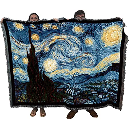 Amazon Com Starry Night Vincent Van Gogh Blanket Throw Woven From Cotton Made In The Usa 72x54 Kitchen Dining