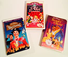 Disney Classic VHS Bundle ~ Mary Poppins, Alice in Wonderland and Beauty and the Beast.