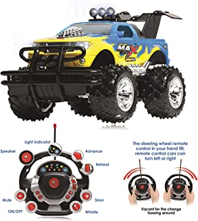 Remote Control Car for Boys and Girls, Rechargeable, Powerful Sound and Motion Sensor Steering Wheel Remote, Hobby Toy Race Car. RC monster truck, Electric Jeep for Kids and Adults, Best Gift. yellow
