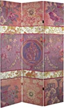 ORIENTAL Furniture Tall Double Sided Vintage Emblem Canvas Room Divider, 6'/4' x 6'